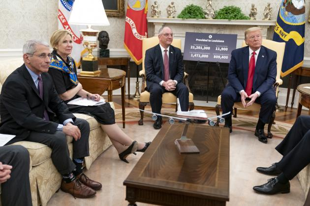 President Donald J. Trump meets with Louisiana Gov. John Bel Edwards Wednesday, April 29, 2020, in the Oval Office of the White House.(Official White House Photo by Shealah Craighead)