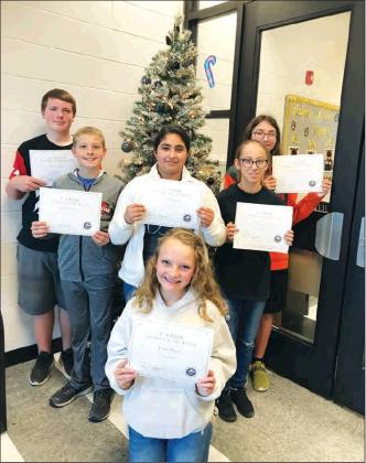 Courtesy Photo Congratulations to the Madill Middle School November students of the month. They were sixth graders Nayeli Ibarra and Ryder Douglas, seventh graders Evelyn Munoz-Perez and Ethan Marston and eigth graders Evan Watts and James Daniel.