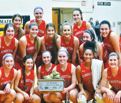 Both Kingston Basketball teams beat Madill in the game for the coveted shoe. Above: The Kingston Lady Redskins pose with their trophy. Aylin Salazar