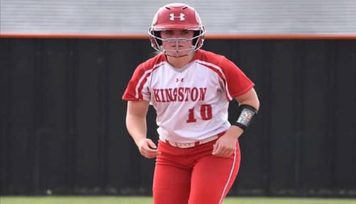 Senior Emi O'Steen, #10, runs the bases during the Kingston v. Lindsay game on September 17, 2020. The Lady Redskins won 11-3. T.J. Harkins